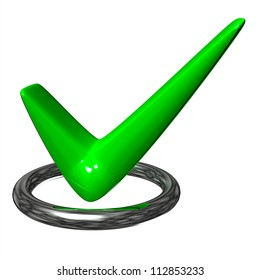 green check mark in the metal ring