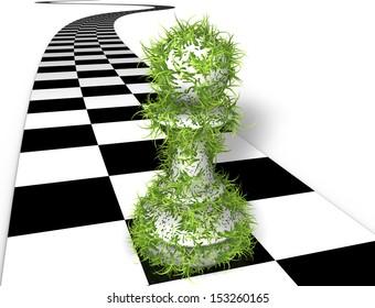 Green chess piece