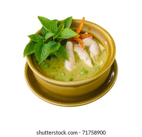 Green  chicken curry a popular of Thai food isolated on white