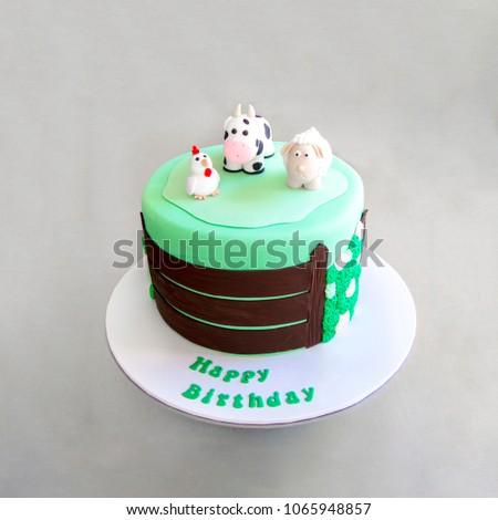 Green Childrens Cake Farm Animals On Stock Photo Edit Now