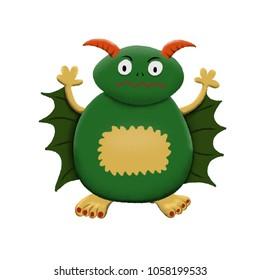 Green children's cute monster character. Original digital illustration.