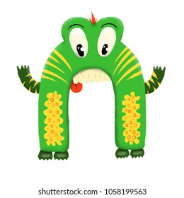 Green children's cute monster character. Original digital illustration.