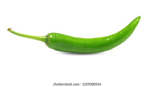 Green chili pepper isolated on white
