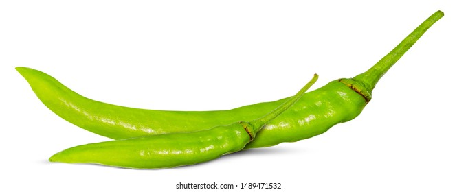 green chili pepper isolated on a white.