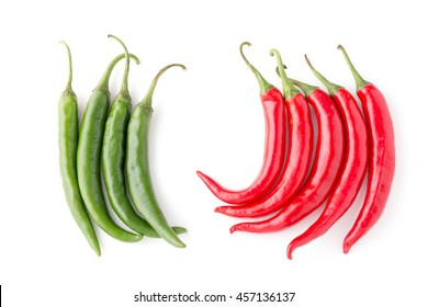 green chilli and red chilli on white background