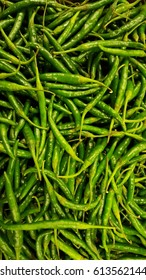 Green chillies birds eye