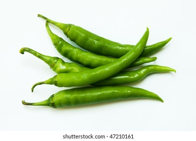 green chillies on clean background