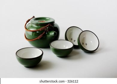 Green Chinese tea set