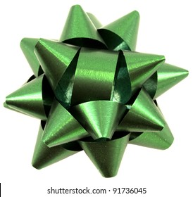Green christmas bow isolated on white background