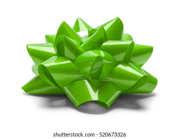 Green Christmas Bow Side View Isolated on White Background.
