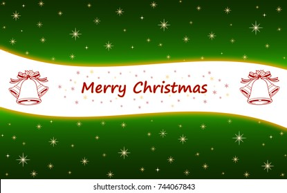 Green Christmas card with stars