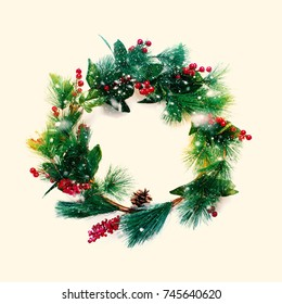 Green Christmas Decorative Wreath with Holly Berries Beige Background Happy New Year Greeting Card Winter Xmas Holiday Theme
