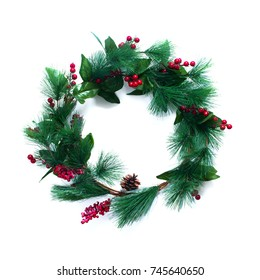 Green Christmas Decorative Wreath with Holly Berries Isolated on White Background Top View Holiday Happy New Year Greeting Card Winter Xmas Theme Flat Lay