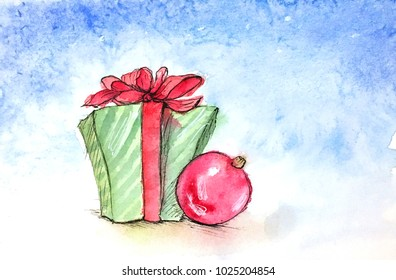 Green christmas gift box with christmas ball on a blue background watercolor illustration