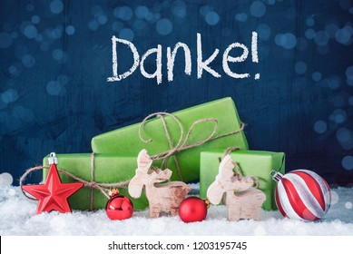 Green Christmas Gifts, Snow, Danke Means Thank You