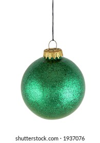 Green christmas glass ball on white background (with clipping path for easy background removing)