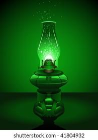 Green Christmas lantern - raster