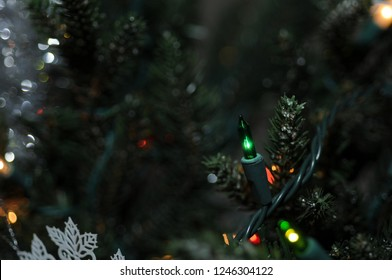 Green Christmas Light and Bokeh Background