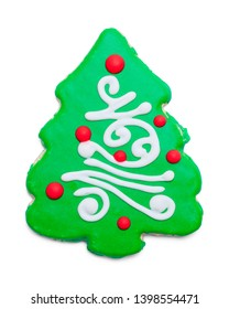 Green Christmas Suger Cookie Isolalted on White Background.