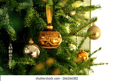 Green Christmas tree branch with golden decoration