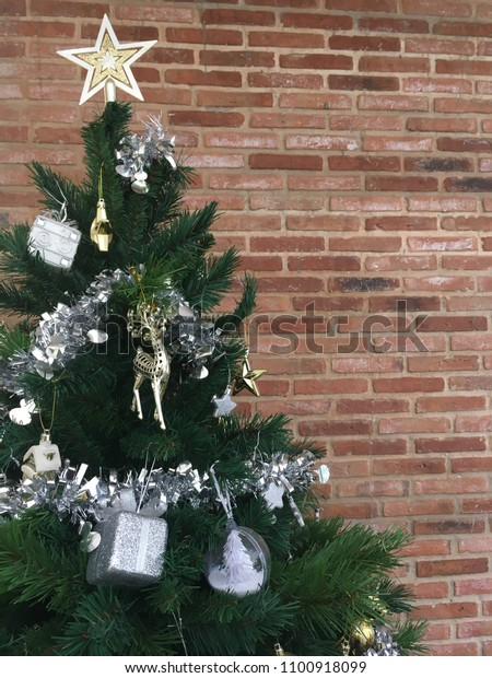 Green Christmas Tree Decorated Silver Gold Stock Photo Edit Now