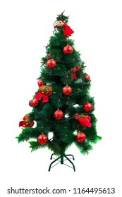 green Christmas tree with Christmas decorations isolated on white background