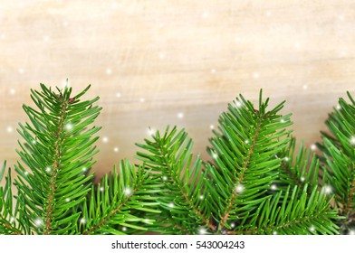 green christmas tree on wood table background as holiday decor