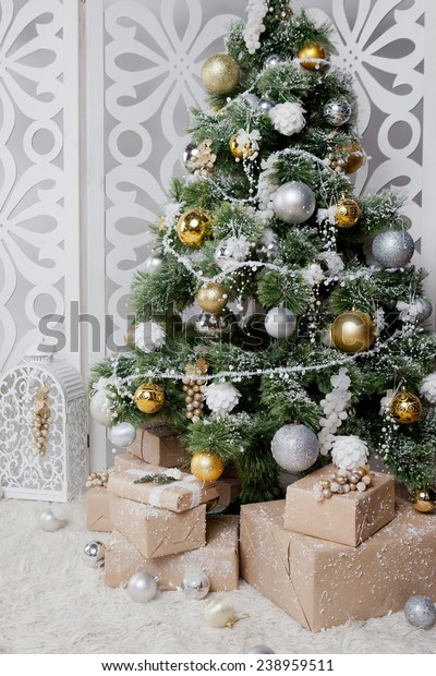 Green Christmas Tree Silver Gold Balls Stock Photo Edit Now 238959511