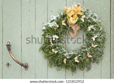 Green Christmas Wreath Snowfall On Wooden Stock Photo Edit Now