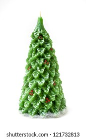 green christmas-tree, candle, isolated on white background