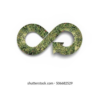 Green circular economy concept. Arrow infinity symbol with grass, isolated on white background.