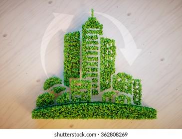 Green city concept. 3D rendering.