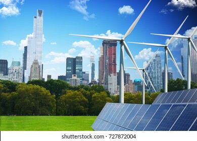 Green city of the future concept, powered only by renewable energy