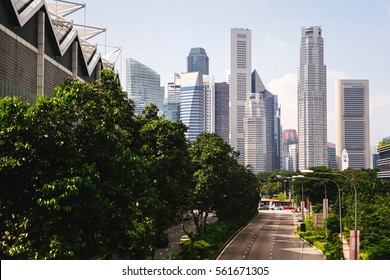 Green city of the future. City of the future. Harmony of city and nature. Sunny day in the big city. Deserted quarter, streets without people, quarantine