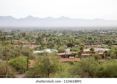 Green cityscape view from Camelback mountain in Scottsdale, Arizona