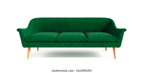 Green classic modern stylish sofa with wooden legs isolated on white background. Furniture, interior object, stylish sofa. Single piece of furniture.