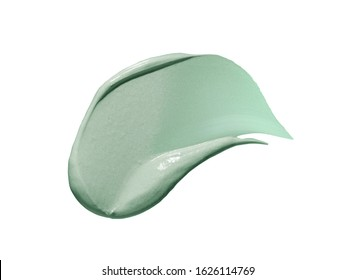 Green clay mask sample isolated on white background