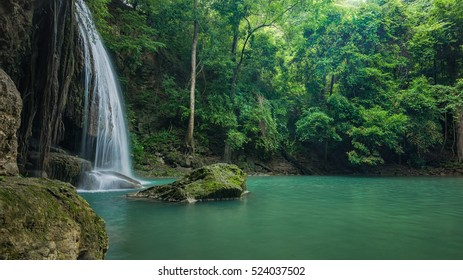 Green and clean waterfall for relaxation, Erawan's waterfall , Located Kanchanaburi Province, Thailand