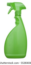Green Cleaning Bottle for a Natural Environmentally Friendly Cleaning Concept.  Isolated on White with a Clipping Path.