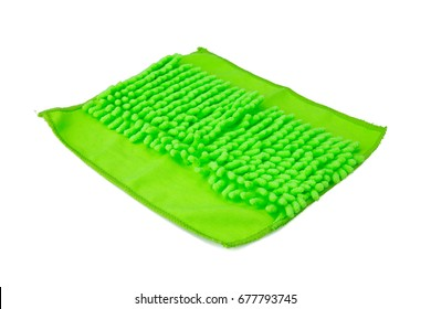 green cleaning cloth isolated on the white background.