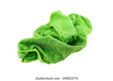 Green cleaning rag isolated on white background