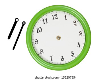 Green clock with hour and minute pointers were moved outside
