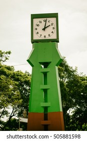 Green Clock tower. Concept Vintage retro