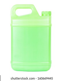 Green closed plastic container with handle isolated on white