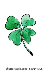 Green clover, hand drawing watercolor illustration