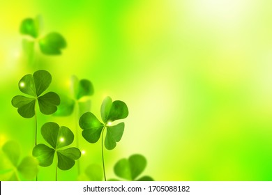 Green clover leaves on a background summer landscape. St.Patrick 's Day - Shutterstock ID 1705088182