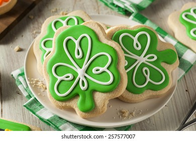 Green Clover St Patricks Day Cookies Ready to Eat