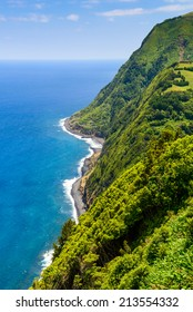 Green coastline of Sao Miguel (called little Hawa�¯ of Europe), Azores, Portugal