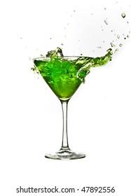 green cocktail drink splash