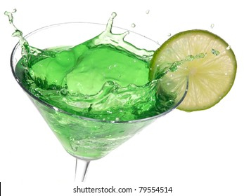 Green cocktail with lime splash
